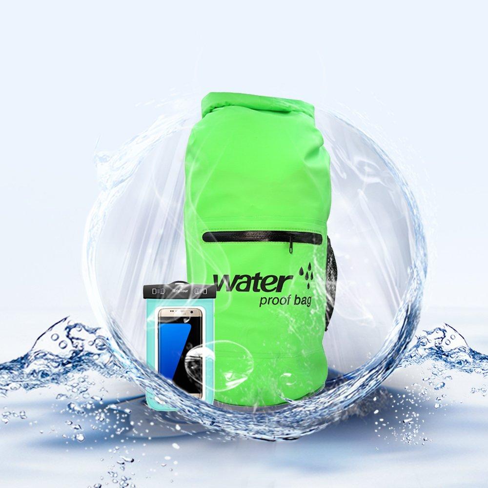 防水ドライバッグProfessionalバックパックwith 2パケットポケットKeepsギアドライのビーチ、ラフティング、ボート、キャンプ、カヤック、釣り、ハイキングwith防水電話ケース B073HZSRLR 20 LITER|グリーン グリーン 20 LITER
