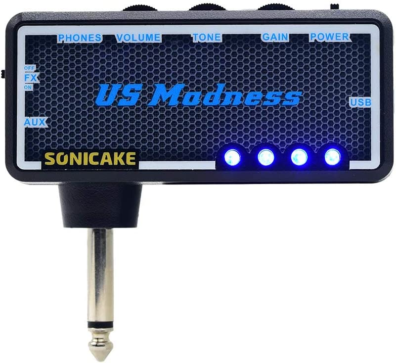 SONICAKE US Madness Plug-In USB Chargable Portable Pocket Guitar Bass Headphone Amp Carry-On Bedroom Effects