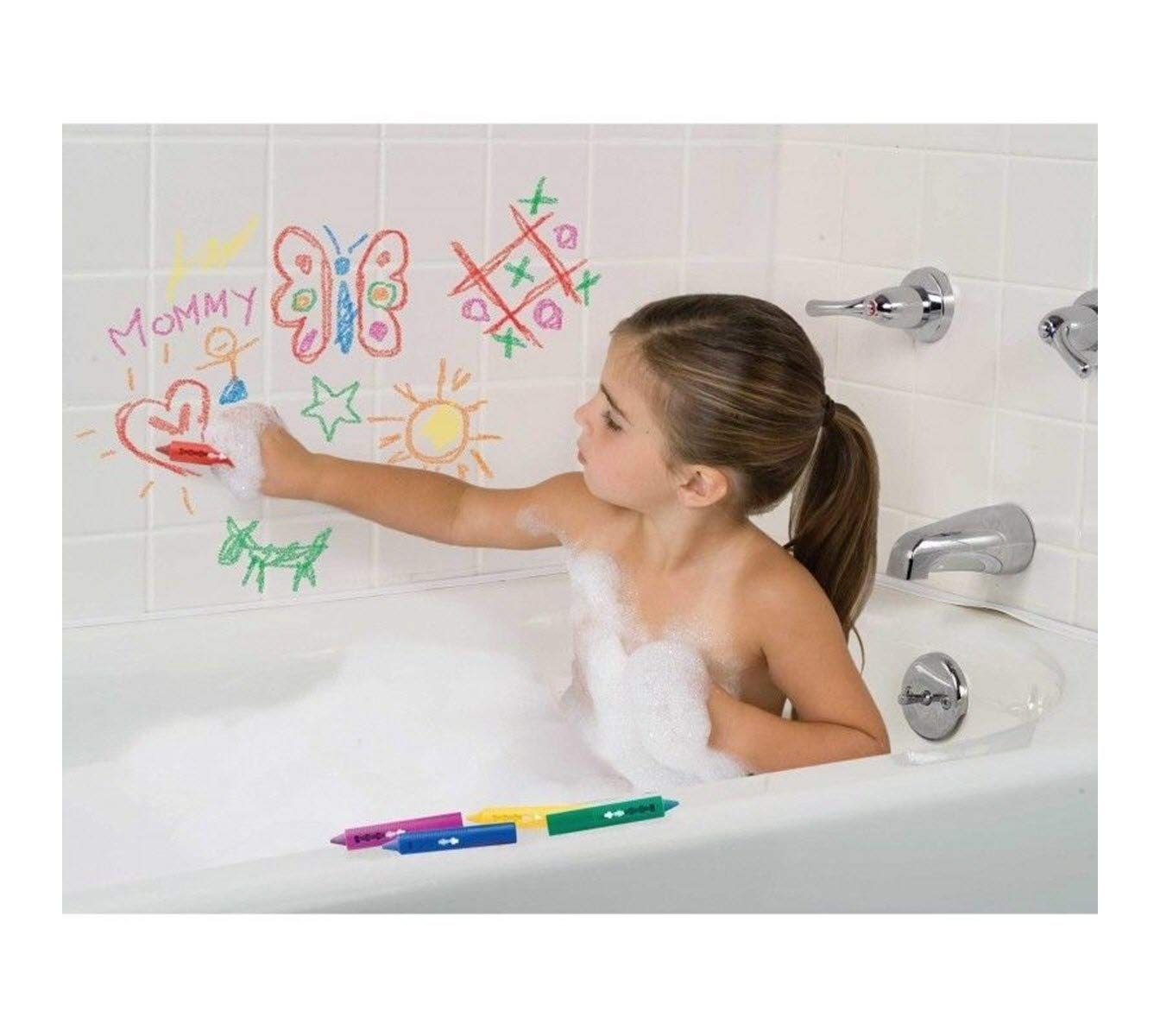 6x BABY BATH CRAYONS Non Toxing Education Fun Toy Easy Washable Crayoning Wipe