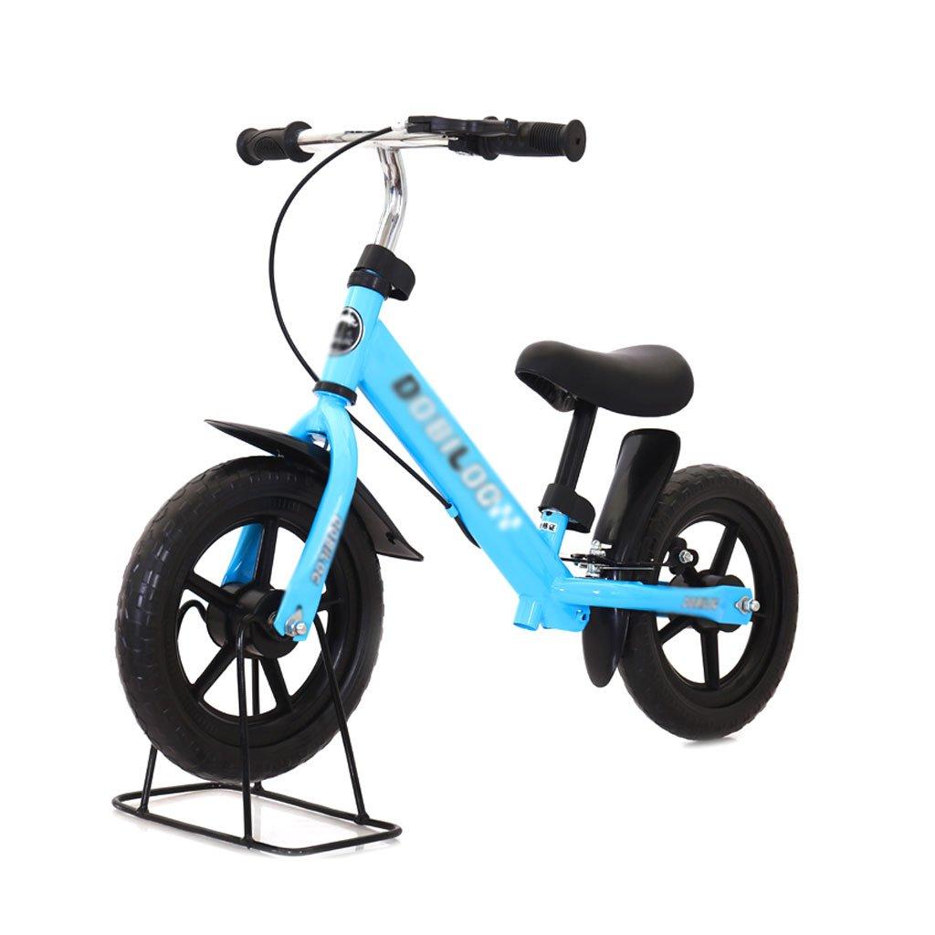 バランスの車ペダルがない子供のスクーターを膨らませる必要はないバギー子供ダブルホイール自転車子供スクーターブレーキ付き2ラウンドウォーカー12インチ2-6歳 B07F58F15J Blue Blue