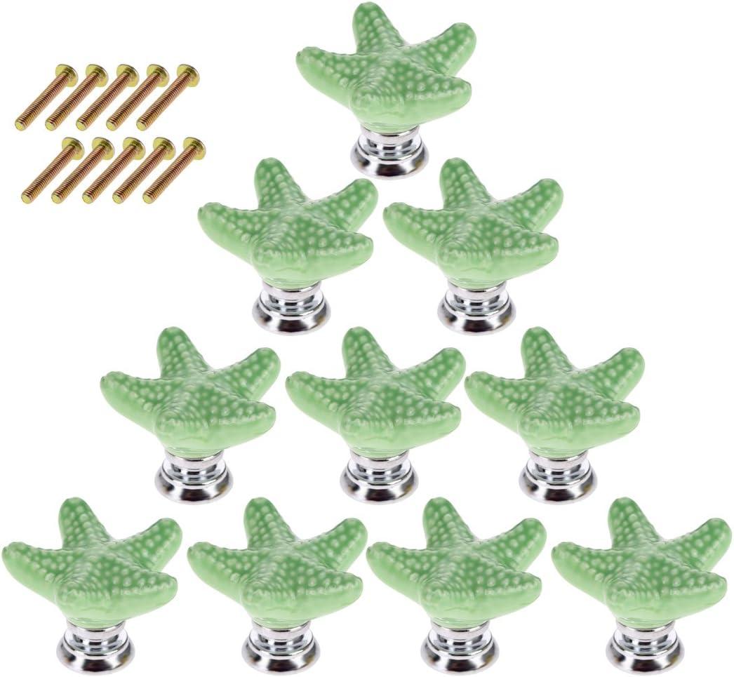 10er Stern Kn/öpfe Schubladenkn/öpfe Kinderzimmer Schrankkn/öpfe Kabinettkn/öpfe Kinder M/öbelkn/öpfe f/ür M/öbel Schrank Kabinett YAVSO Knauf Keramik Schublade Blau