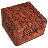 Starzebra – Scatola per gioielli esclusiva, fattura artigianale tradizionale dall'India, in palissandro intagliato a mano