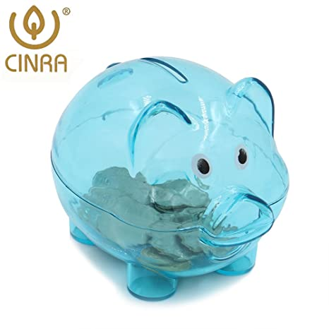 Transparent cute blue pig piggy bank cartoon toy bank money market coin box money saving box