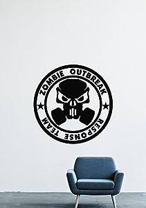 Zombie Outbreak Response Team Skull Gas Mask Wall Decals Decor Vinyl Sticker GMO1518