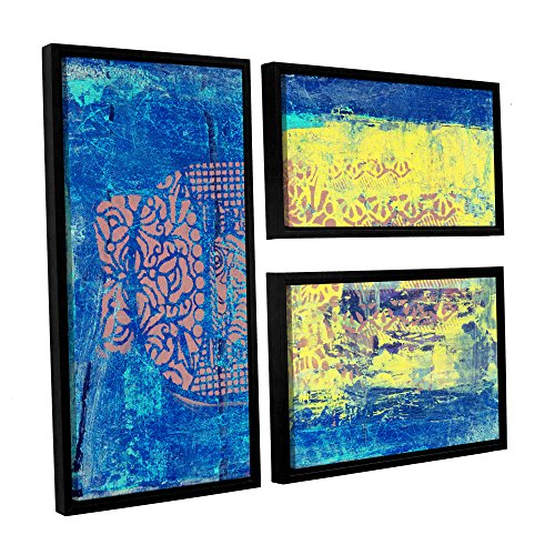 """Elana Ray's Blue with Stencils 3 Piece Floater Framed Canvas Flag Set, 24 x 36"""""""