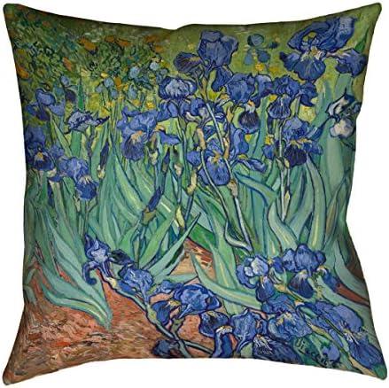 ArtVerse Vincent Van Gogh 26 x 26 Faux Linen Updated Fabric Irises Pillow