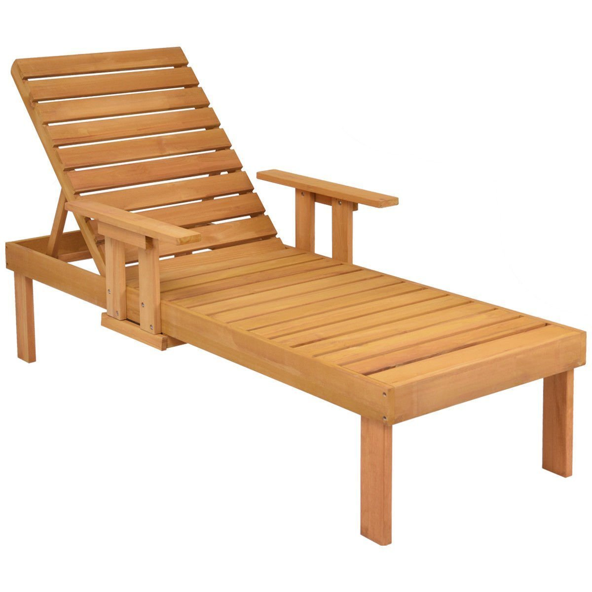 Giantex Wood Adirondack Chair Set w/Table Pull-Out Tray Wood Outdoor Patio Garden Deck Beach Chair Adjustable Backrest (Lounge Chair)