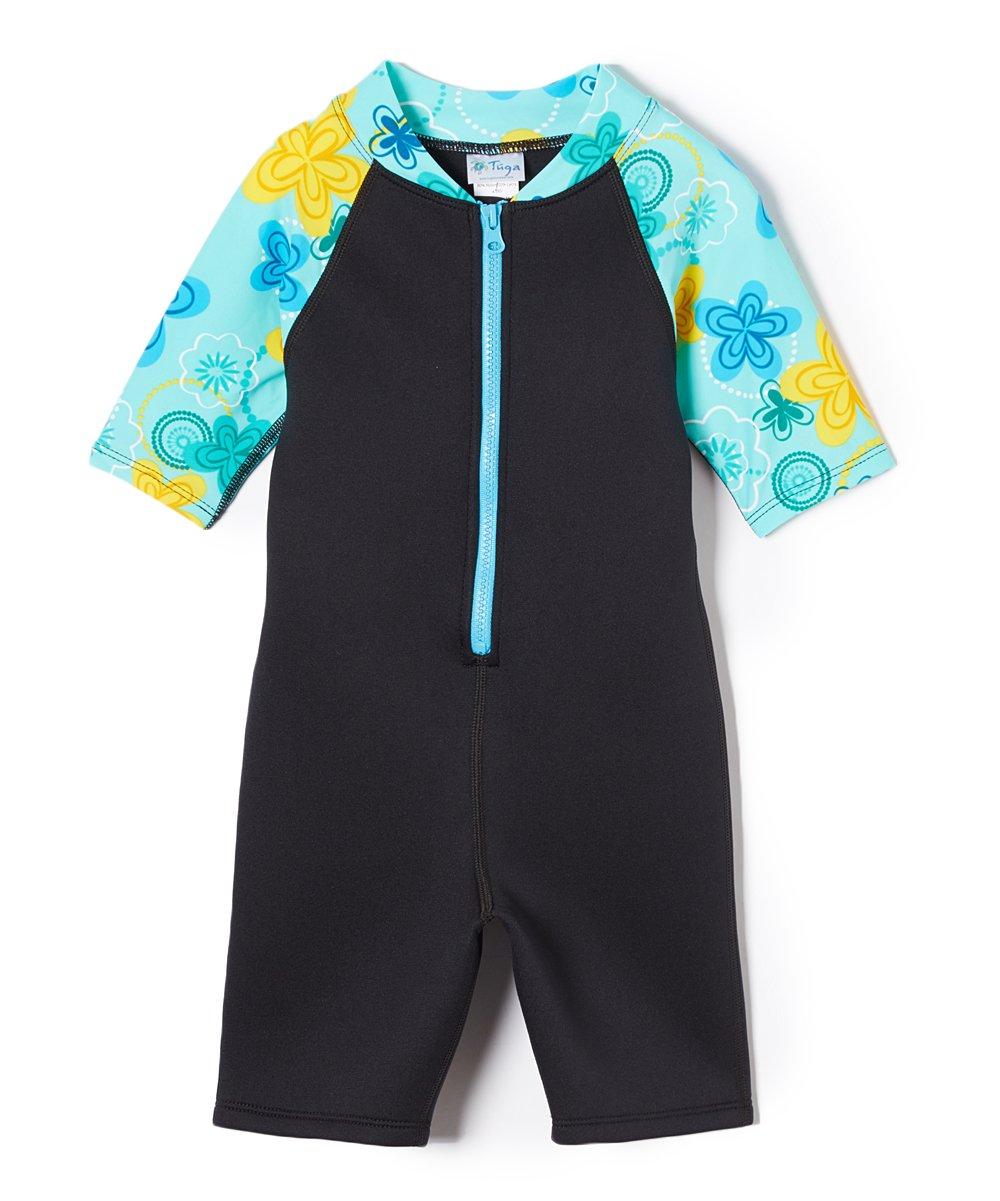 Tuga Girls Shorty 1.5mm Neoprene/Spandex Wetsuit (UPF 50+), Tropical Teal, S (7/8 yrs) by Tuga Sunwear