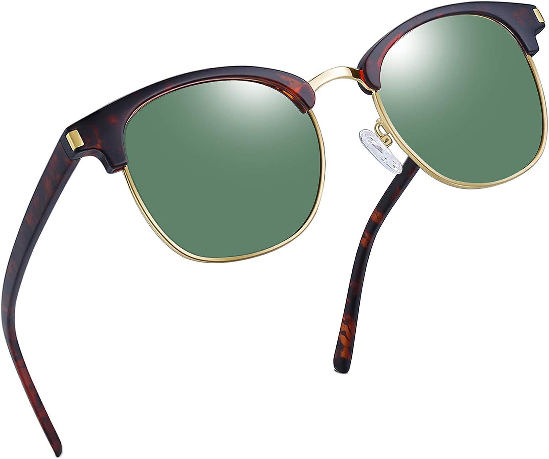 Joopin Gafas de Sol Polarizadas Hombre Media Montura con Protección UV400 Clásicas Retro Gafas para Hombre y Mujer