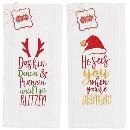 Santa y Navidad potable Blitzen Waffle Weave toallas – Set de 2