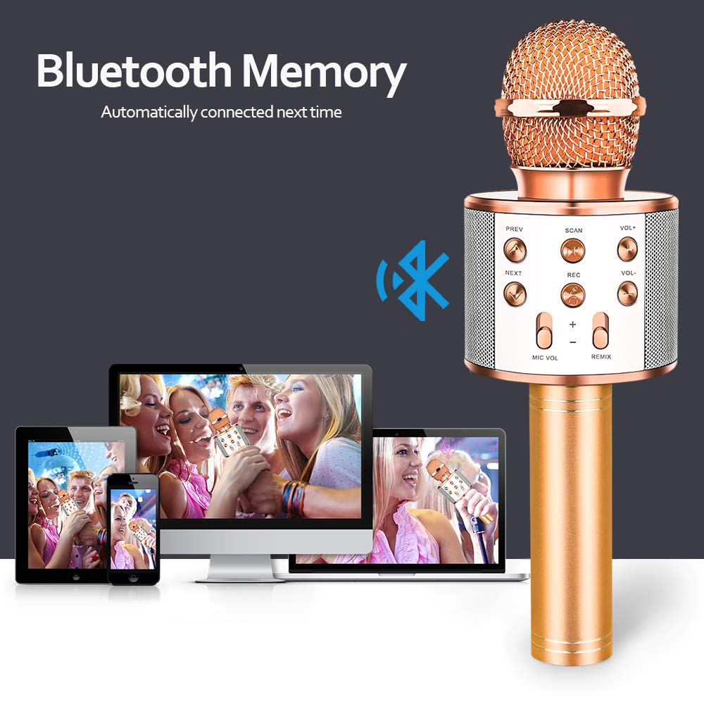 HahaGift Gifts for 3-14 Year Old Girls, Microphone Idea for Kids Toy Microphone for Kids Microphone Fun Toys for 3-14 Year Old Girls Boys (Rose Gold) by HahaGift (Image #5)