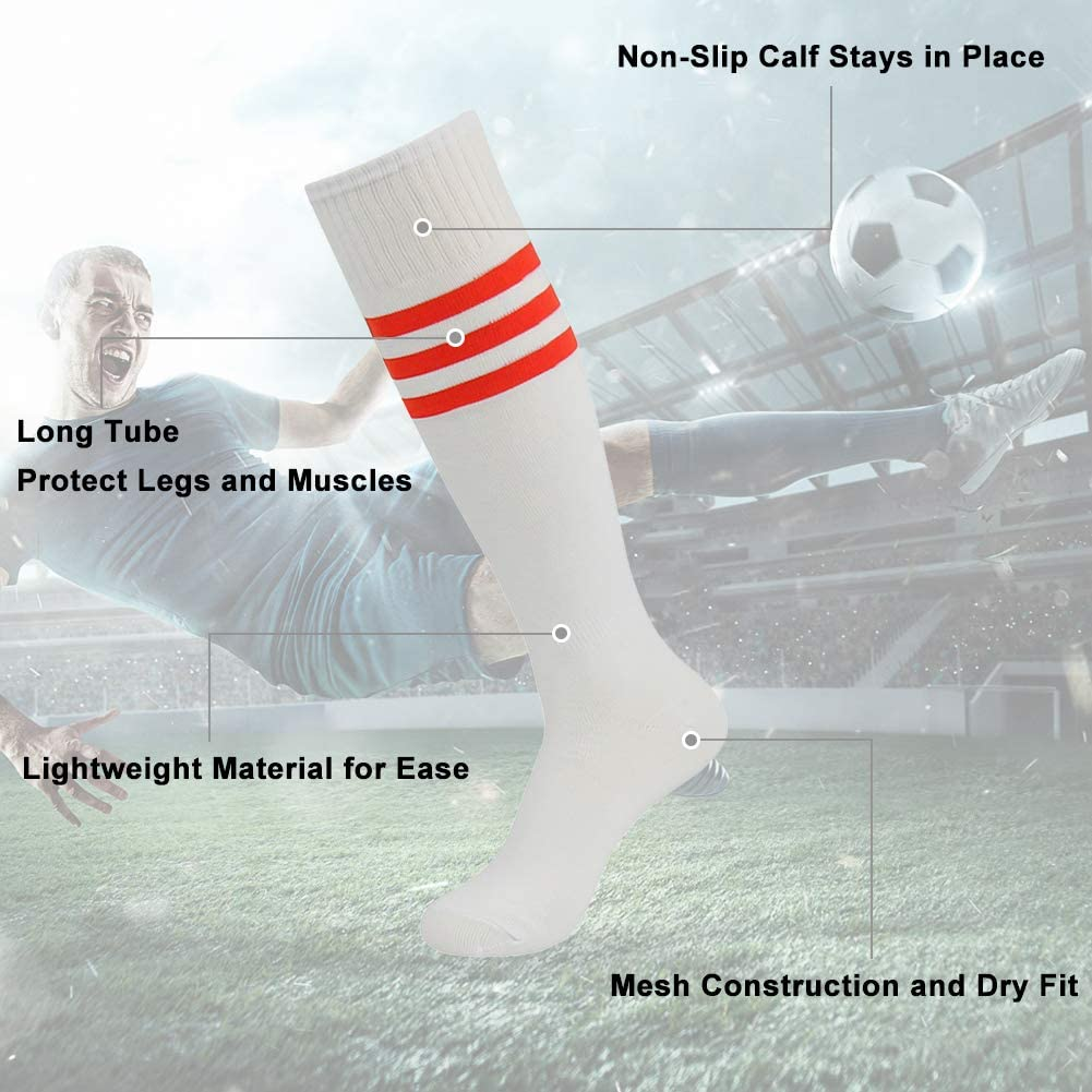 2 Pairs Youth Dress Casual Socks Funky Crazy Adult Football Soccer Tube Long Uniform Indoor Sport Socks Size 7-13 White diwollsam Women Sports Knee High Socks