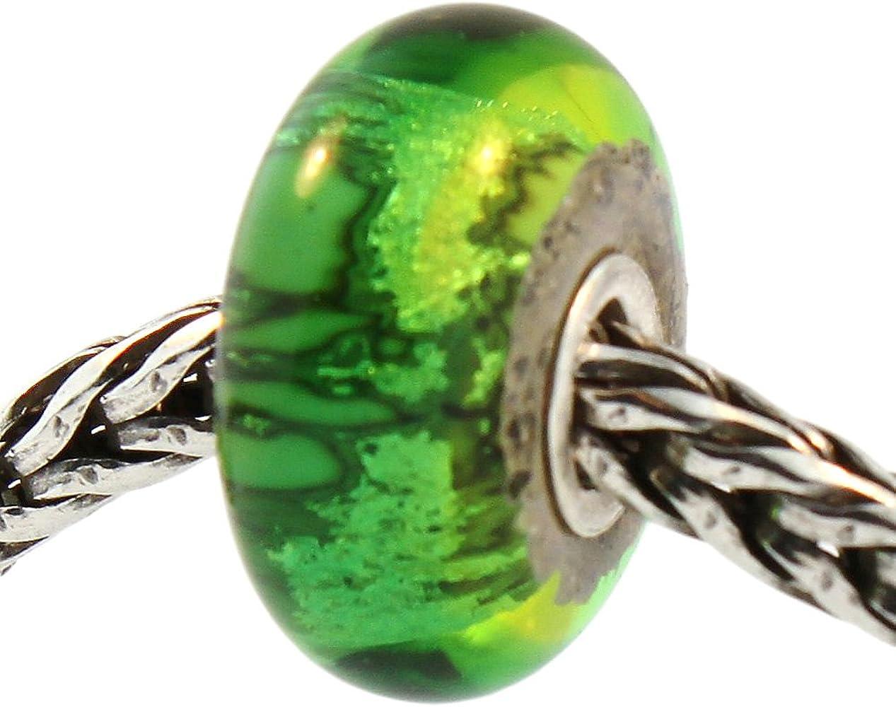 AUTHENTIC TROLLBEADS 62021 Green Flower Mosaic Glass Bead