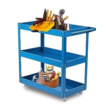 Homgrace Carro de taller de herramientas de 3 niveles con ruedas para cocina, almacén,