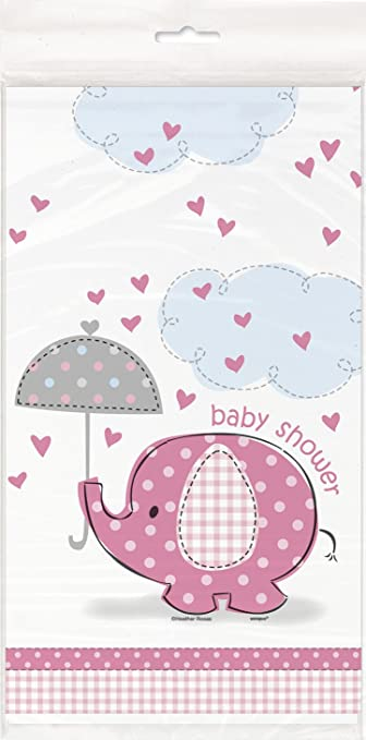Pink Elephant Girl Baby Shower Plastic Tablecloth, 84u0026quot; ...