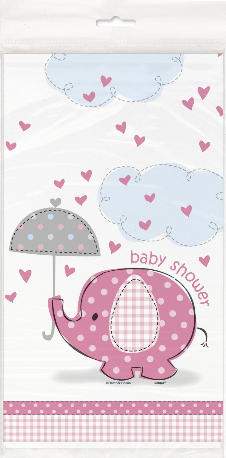 """Pink Elephant Girl Baby Shower Plastic Tablecloth, 84"""" x 54"""""""