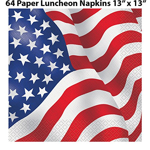 American Flag Tableware 48 Servings. Plates + Cups + Napkins + Cutlery. Patriotic Party Supplies Decorated in Red White and Blue Stars and Stripes for July Fourth, Memorial day, and more by HeroFiber (Image #4)