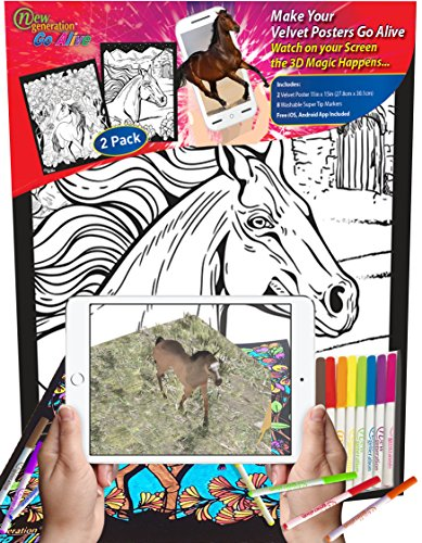 New Generation Go Alive - Horse - 2 in 1 Coloring Velvet Posters Color and Watch using your smartphone A Magical Animated Show on Your Creativity - Amazing 4D Dimension on your Coloring