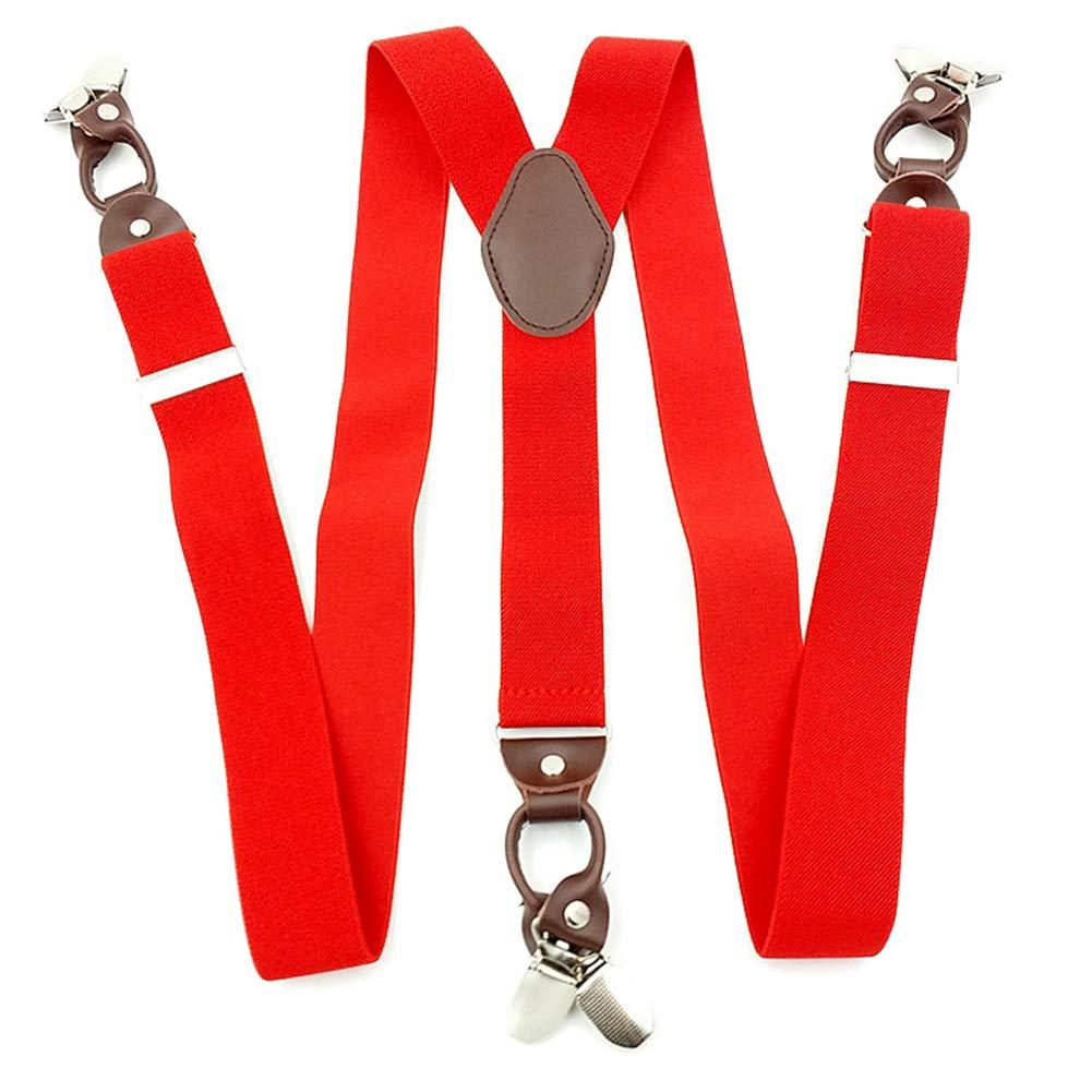 Bretelles de pantalon pour homme, 3,5 x 115 cm en alliage mâle 6 clips vintage en cuir décontracté pour pantalon de style occidental, décoration de vêtements pour homme free size Red Dyda6