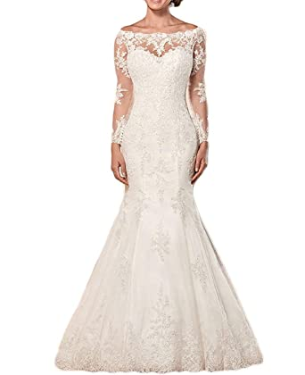 6979e98b8977 Momabridal Womens Long Lace Mermaid Wedding Dresses Illusion Long Sleeves Boat  Neck Bridal Gowns for Bride with Train at Amazon Women's Clothing store: