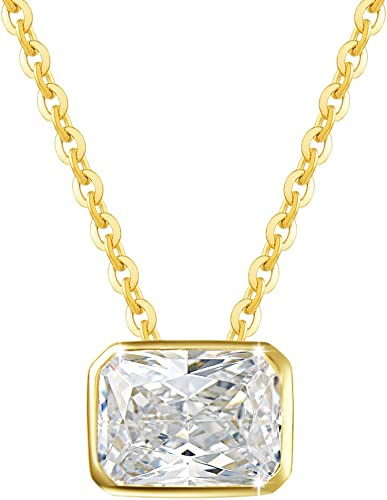 Teens and Women 18k Solid Yellow Gold Cubic Zircon 4 mm Pendant for Necklace for Girls