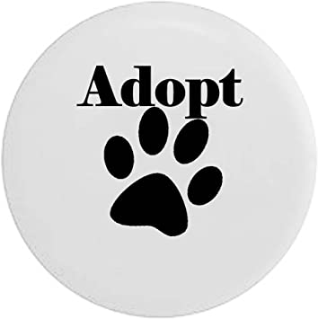 Adopt Dog Lover Paw Print Rescue Spare Tire Cover Black 29 in Pike Outdoors