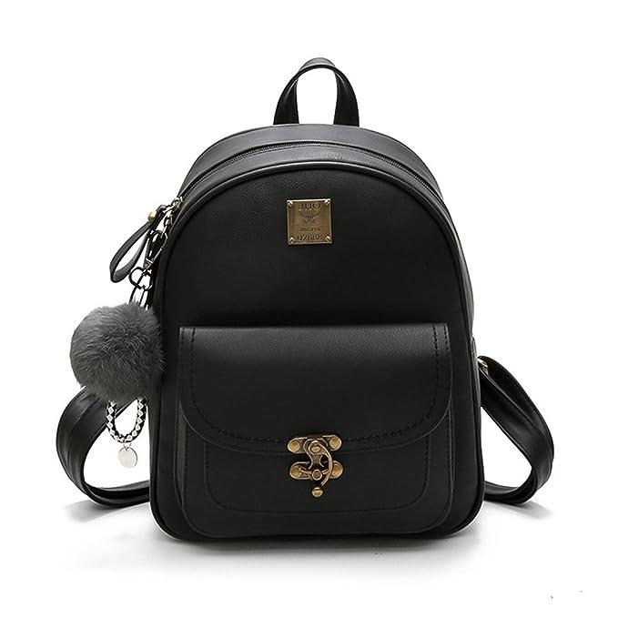 La mujer mochilas moda bolso de cuero pu pequeña mochila mochilas escolares para la Joven Bag Negro 1281: Amazon.es: Ropa y accesorios