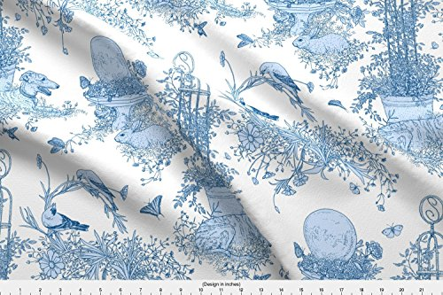 y Garden Toile Main Large - White And Blue2011 By Jane Walker - Designed By Artbyjanewalker - Fabric Printed By Spoonflower On Lightweight Cotton Twill Fabric By The Yard (Garden Toile Fabric)