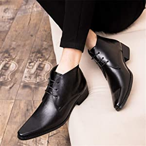 Mens Leather Ankle Boots British High Top Shoes Casual Pointed Toe Dress Formal
