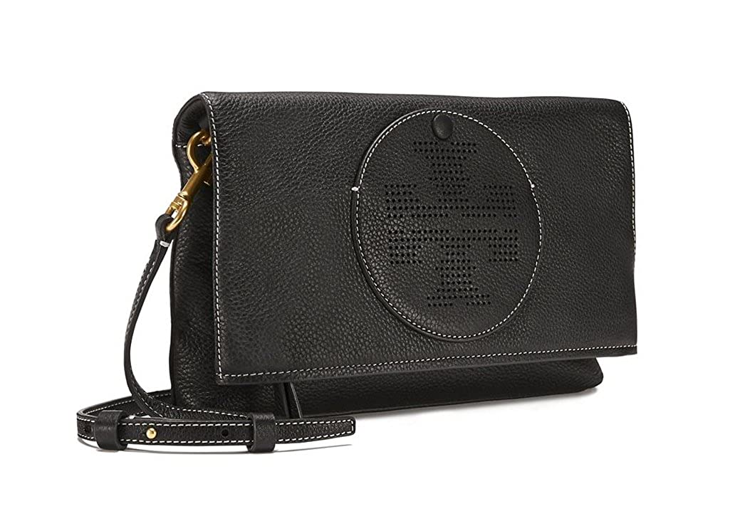 19dcdc8f6 Amazon.com: Tory Burch Perforated Logo Fold Over Crossbody in Black:  Clothing