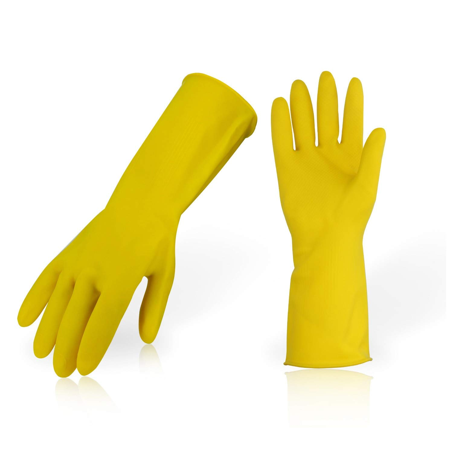 Vgo 10 Pairs Reusable Household Cleaning Dishwashing Kitchen Glove, Long Sleeve Thick Latex Working, Painting, Gardening Gloves,Pet Care(10 Pairs,Size L,Yellow,HH4601)