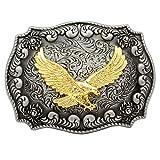 Q&Q Fashion Western Antique Silver Engraved Flower Gold Bird of Prey 3D Eagle Belt Buckl