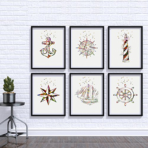 Illustrated-by-Poster-Soul-Watercolor-Nautical-Poster-Set-Nautical-Art-Prints-Gift-Wall-Decor-Artworks-Wall-Art-Home-Decor-Wall-Hanging-Anchor-Compass-LightHouse-Nautical-Rudder-Ship-Wind