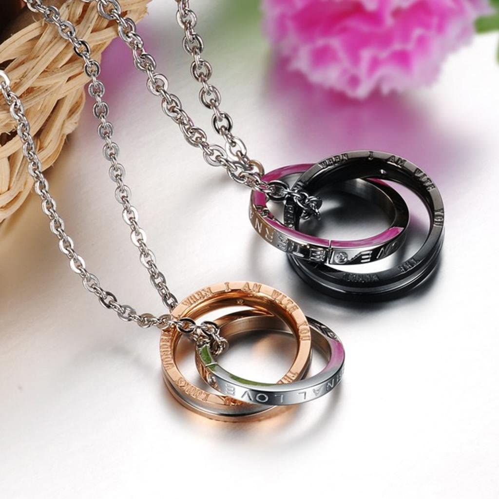 MoAndy Jewelry Titanium Stainless Steel Mens Fashion Necklace Chain Necklets Rings Pendants Cubic Zirconia Black