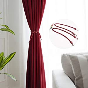 NICETOWN 2 Panels Blackout Curtains with 2 Pieces Tiebacks for Living Room (Each Curtain is 52
