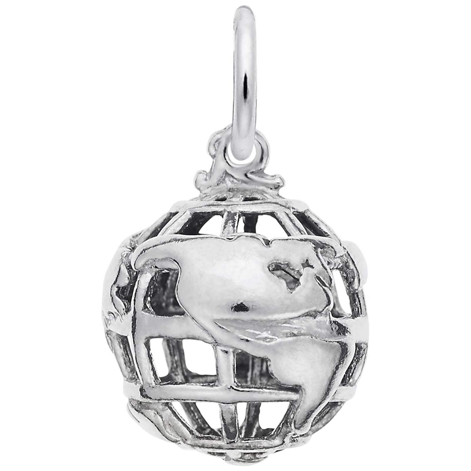 Rembrandt Charms Globe Charm, Sterling Silver