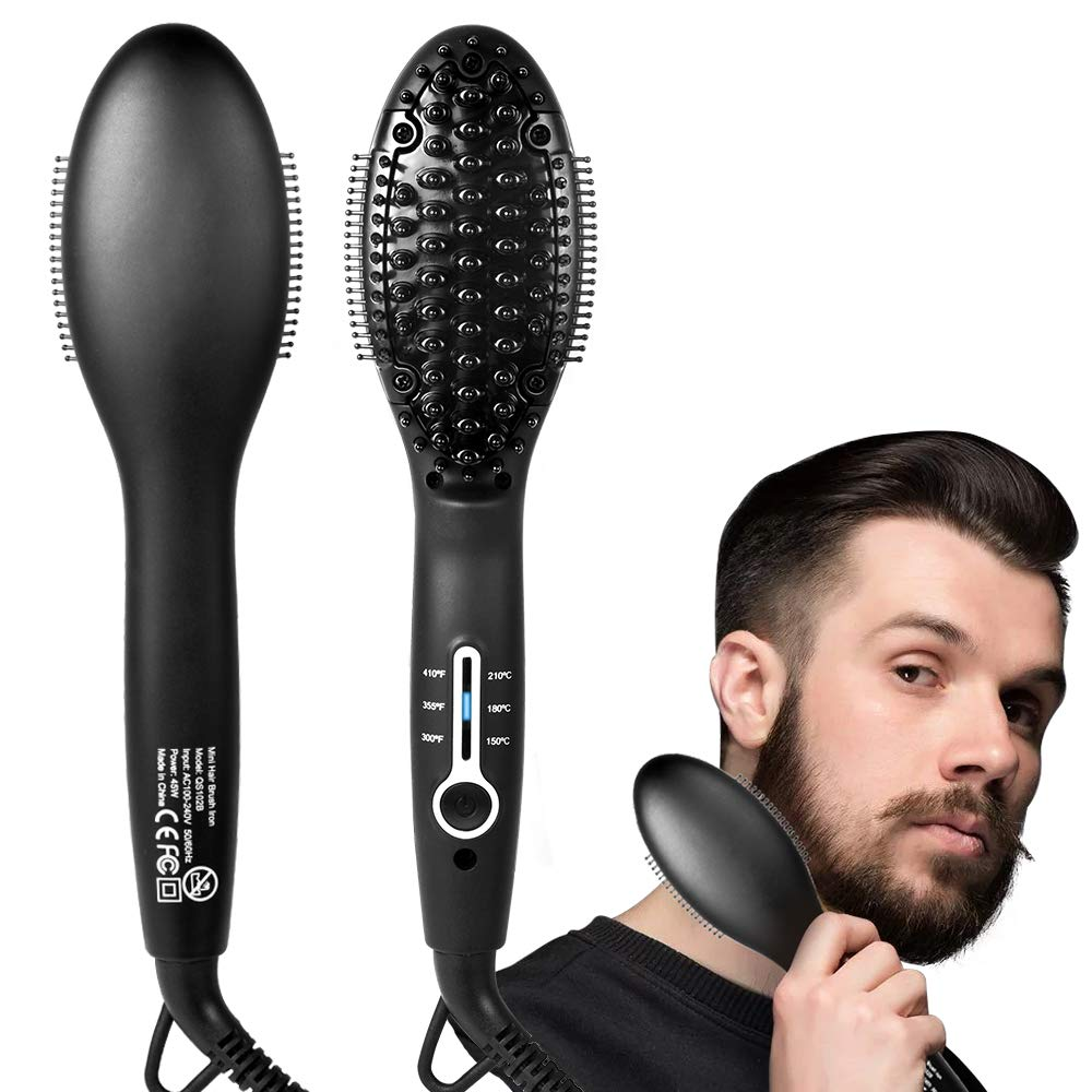 Beard Straightener 2019 upgrade Professional Beard Straightening Heat Brush – Electric Dual Voltage 100V-240V – For For Home Travel