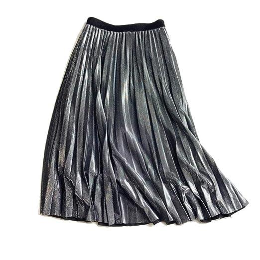 VYNOPA SKIRT Falda Plisada Premium de Metal Plateado Brillante ...