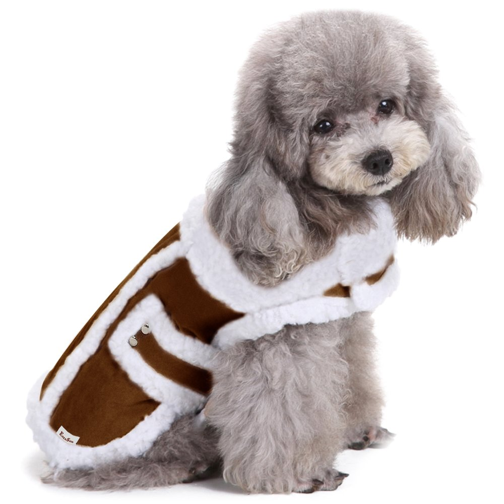 EocuSun Small Dog Winter Coat Shearling Fleece Pet Dog Cat Warm Jacket Vest Clothes Apparel with Furry Collar Cold Weather Coats for Small Medium Dogs Cats Puppy by, Brown S