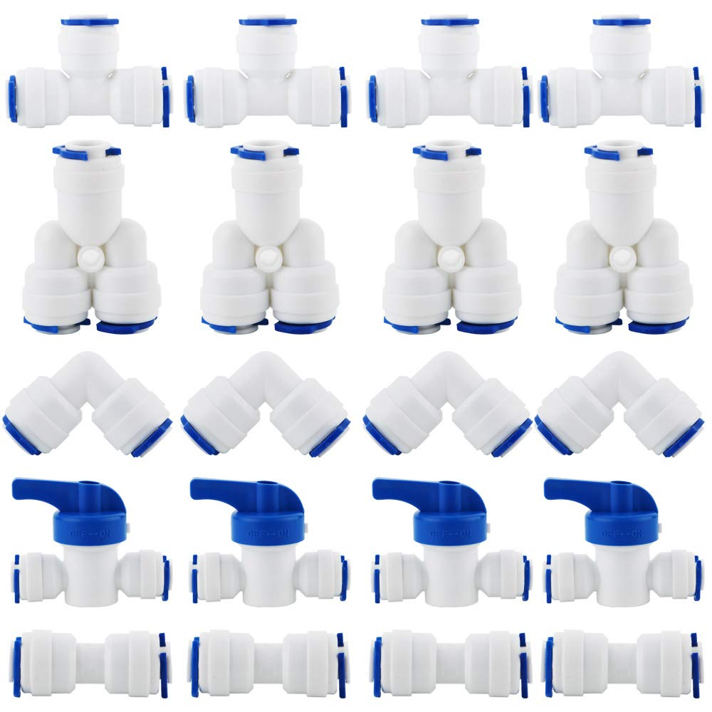 KINYOOO RO Water Systems Connector, OD Quick 1/4'' quick connector, Push In to Connect Water Tube Fitting Set Pack of 20(Y+T+I+L Type Combo + Ball Valve)