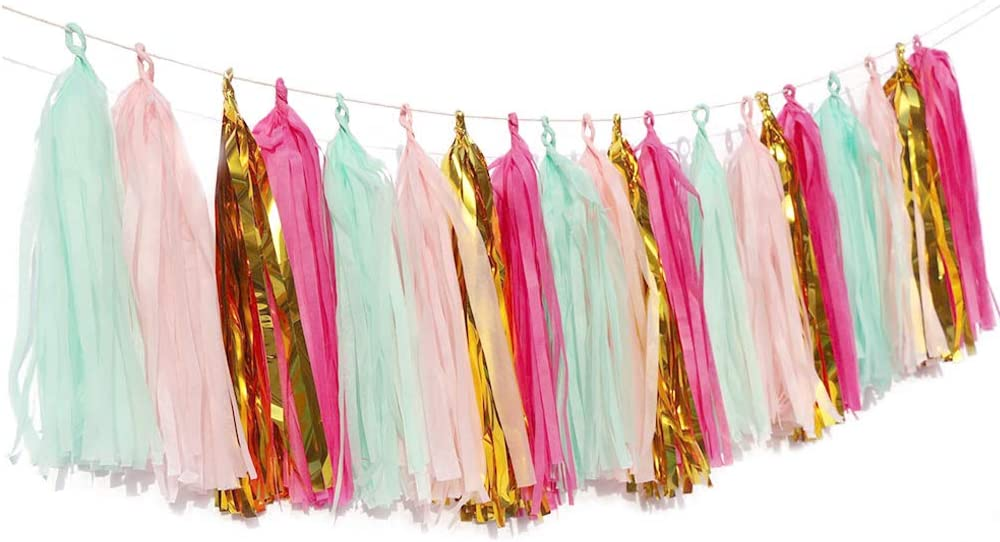 MyBuddy 20pcs Tassel Garland Tissue Paper Tassel Banner DIY Decorations for Wedding,Baby Shower,Birthday, Event,Party Garland Decor (Gold Mint Rose Red Pink)