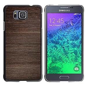 TopCaseStore / la caja del caucho duro de la cubierta de protección de la piel - Texture Horizontal Lines Brown - Samsung GALAXY ALPHA G850