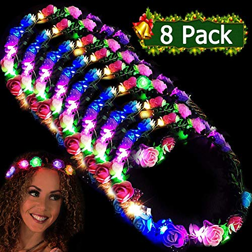 LED Flower Headbands Crowns for Girls and Women Handmade Floral Wreath 10 LED Light Up Flowers Head Wreath Accessories Party Supplies Wedding Concert Holiday Party Pack Birthday Gift 8 Pcs]()
