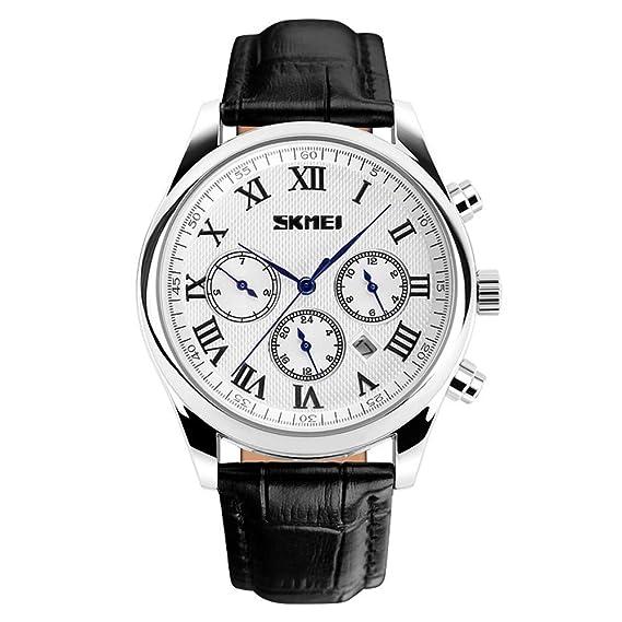 HWCOO Relojes de pulsera SKMEI correa de reloj de los hombres de tres ojos reloj de los hombres de deportes de negocios de reloj de cuarzo resistente al ...