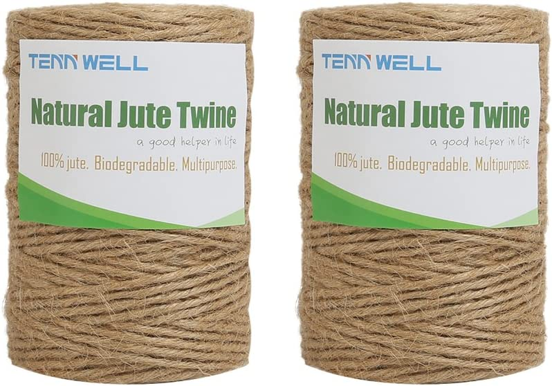 DIY Crafts Tenn Well 300Feet Natural Jute Twine Bundling and Gardening 6 Ply 2.32mm Arts and Crafts Jute Rope Heavy Duty Packing String for Gifts