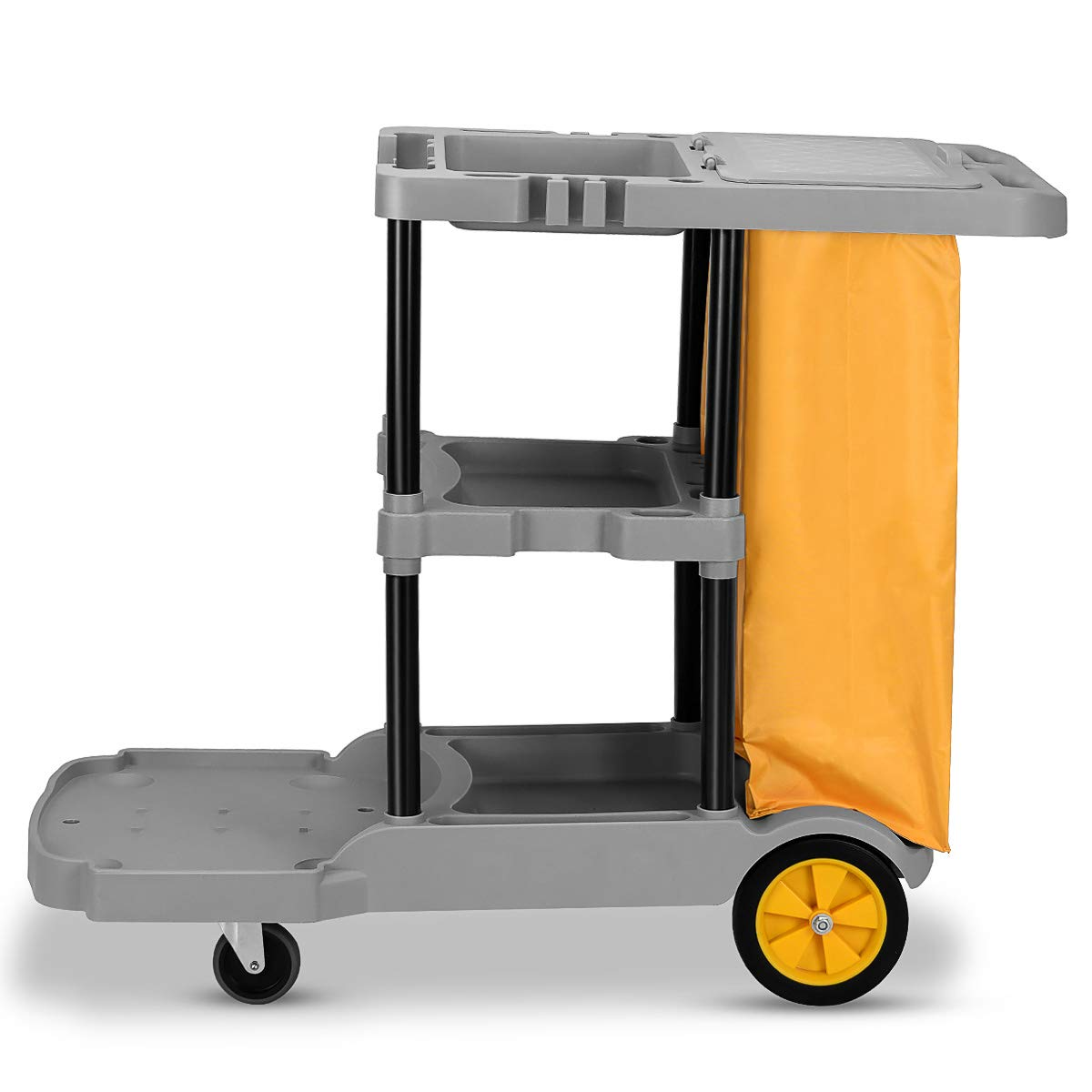 Amazon.com : Goplus Commercial Janitorial Cart Heavy Duty Cleaning Utility  Cart Service Cart 3 Shelf Housekeeping Rolling Janitor Cart with 25 Gallon  Vinyl ...