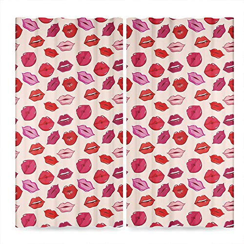 (TecBillion Kiss Window Blackout Curtains,Vivid Colored Sexy Lips Glamour Fashion Cosmetics Make Up Theme Girls Pattern Decorative,for Living Room, 2 Panel Set,103W X 62L Inches )