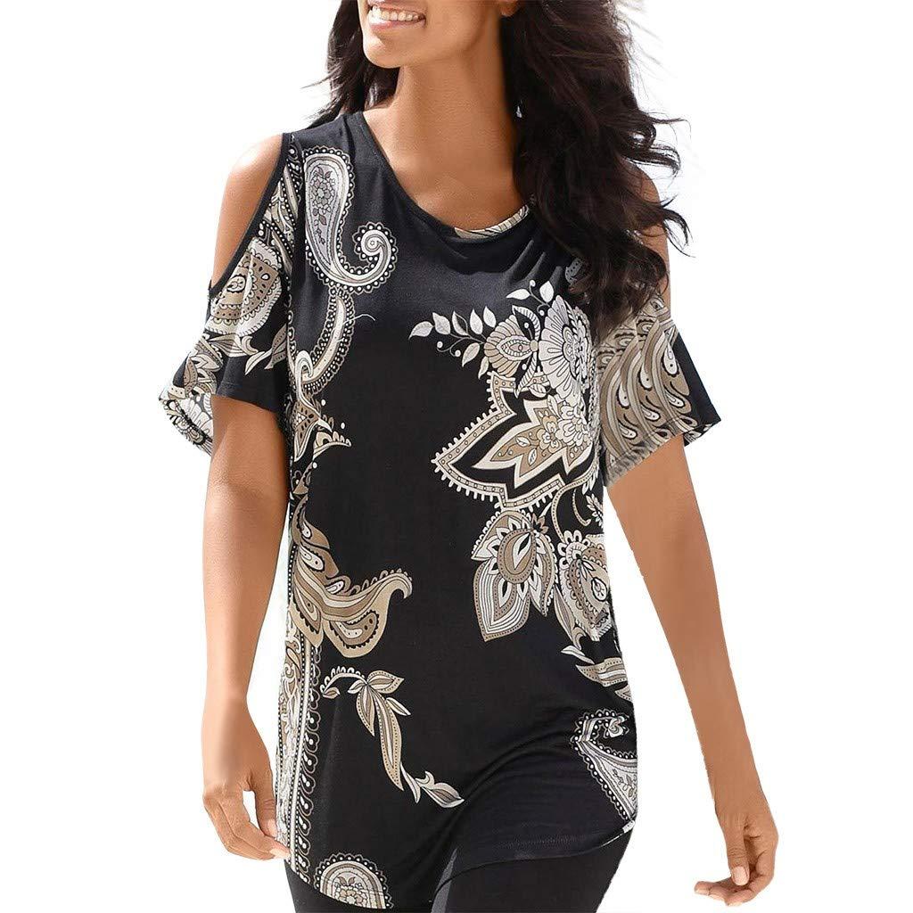 Women's Boho Print Cut Out Tops Crop Short Sleeve Long Beach Style T-Shirt Blouses (Black, XXL)