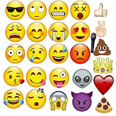 Veewon 27pcs Emoji Accessoires de photobooth Photo Cabine Props Fête Favors Provisions Kit de bricolage drôle pour la fête de la poule, l'anniversaire, la fête de mariage, les accessoires de dég