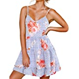 FANCYINN Women Floral Casual Tiered Mini Dresses Spaghetti Strap V Neck Backless A Line Swing Short Dress with Pockets